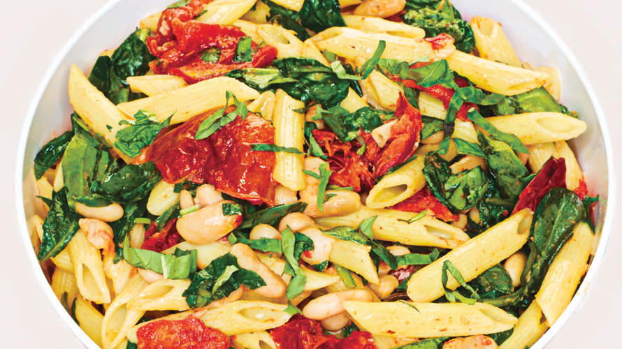 Penne pasta with sun dried tomatoes.