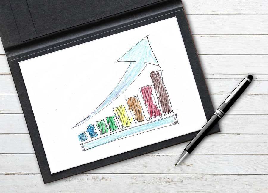 A bar graph displaying an upward trend with a large arrow to demonstrate the direction of that trend.