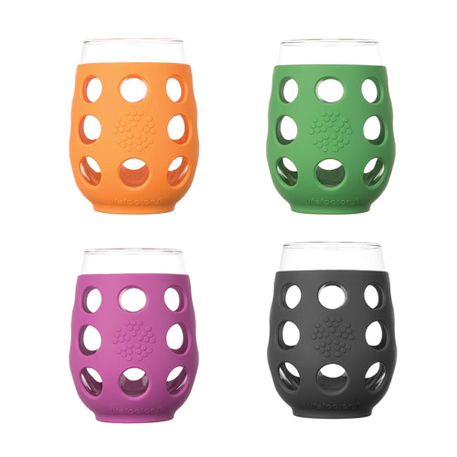 Four wine glasses in different coloured silicon sleeves