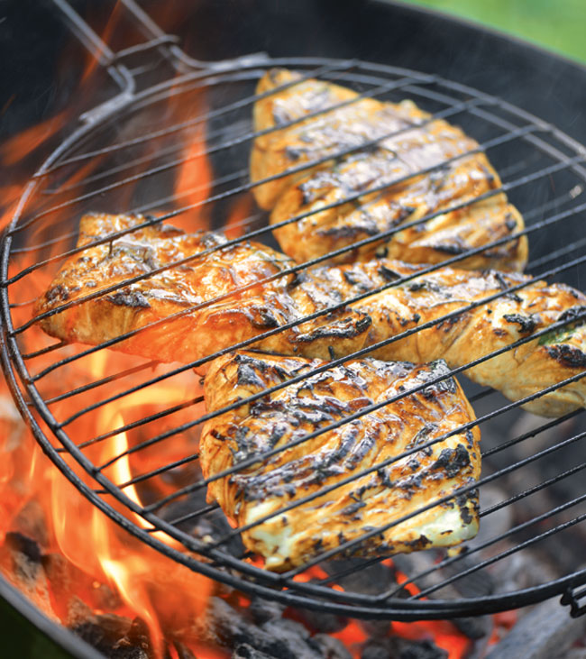 Grill Basket Halibut With Maple Teriyaki