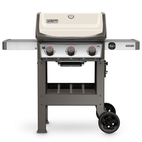 Weber Spirit II gas grill with ivory lid