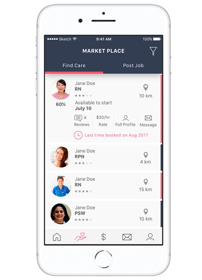 Caremap app Market Place screen