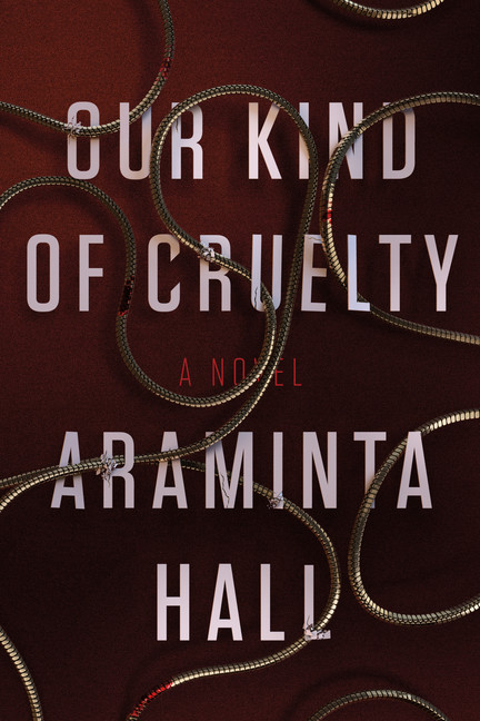 The book cover for Our Kind of Cruelty. The text of the title and the author with a bloody chain meandering overtop of the words.