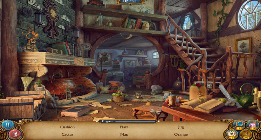 A screenshot of the game speaker notes. A messy room with books shelves and stairs leading up to a den.