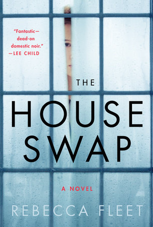 The books cover for The House Swap. The text overtop of a window with someone peaking through a slit in the open curtains.