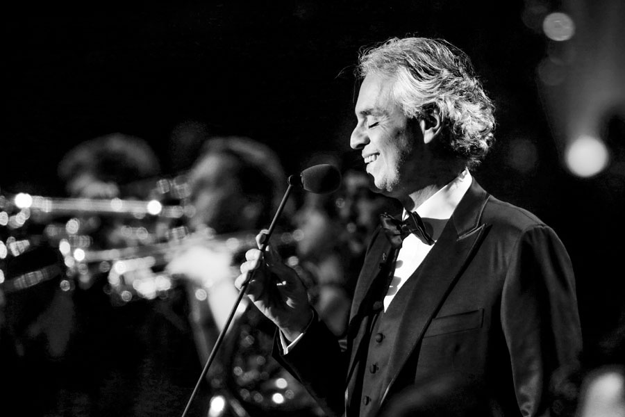 Bocelli sings at a concert in Germany.