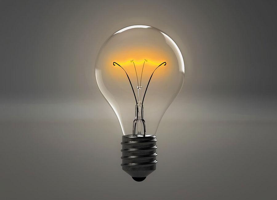 A lit lightbulb.