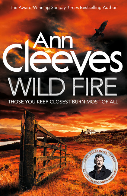 The book cover for Wild Fire. A fiery orange sky looming over farmland.