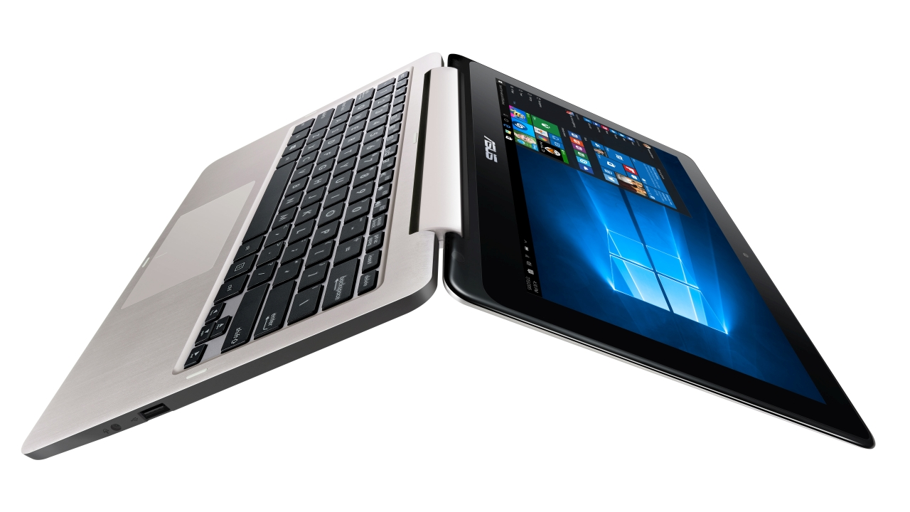 A photo of the Asus-Vivobook-Flip which is a tablet with an option of flipping to a full keyboard.