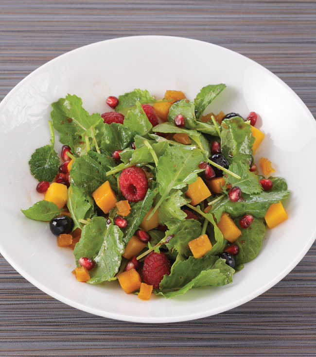 Baby Kale, Butternut Squash and Pomagranate Salad