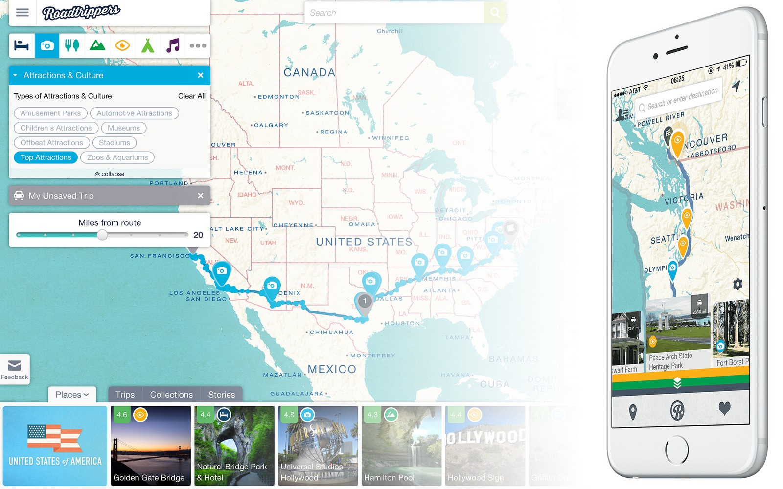 A screenshot of the roadtrippers app displaying the top attractions on a users route.