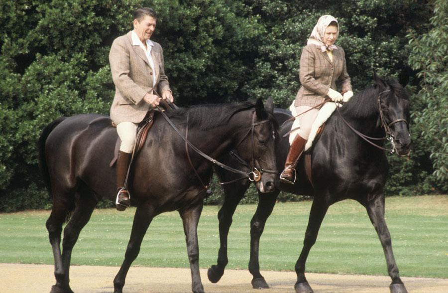 Queen Elizabeth and Ronald Reagan