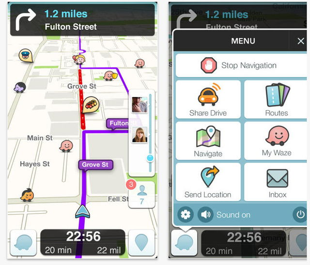 A screenshot of the waze app displaying a map indicating traffic and other important information on your route.