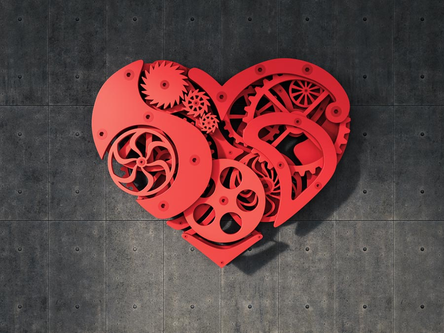 Illustration of a heart with gears