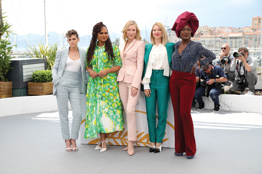 Jury members (left to right): Kristen Stewart, Ava DuVernay, Cate Blanchett, Léa Seydoux and Khadja Nin stand clad in in various pants suits.