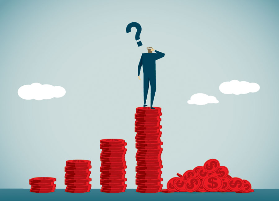 An illustration of a man standing on a stack of coins with a question mark above his head. Beside him are smaller stacks and a pile of coins.