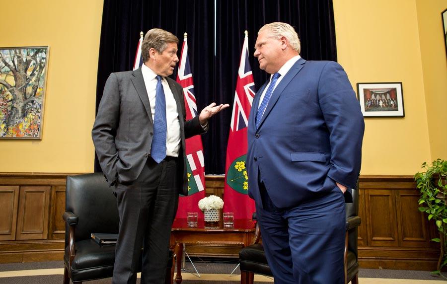 Toronto Mayor John Tory and Ontario Premier Doug Ford
