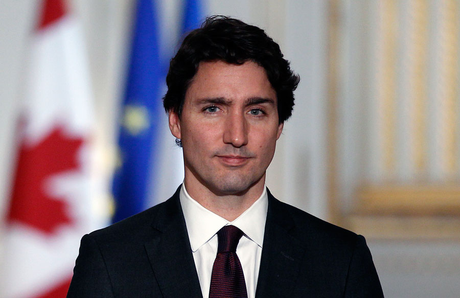 Trudeau with a slight smile on his face.