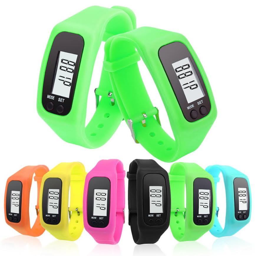 A row of activity trackers in bright green, orange, pink black and blue.