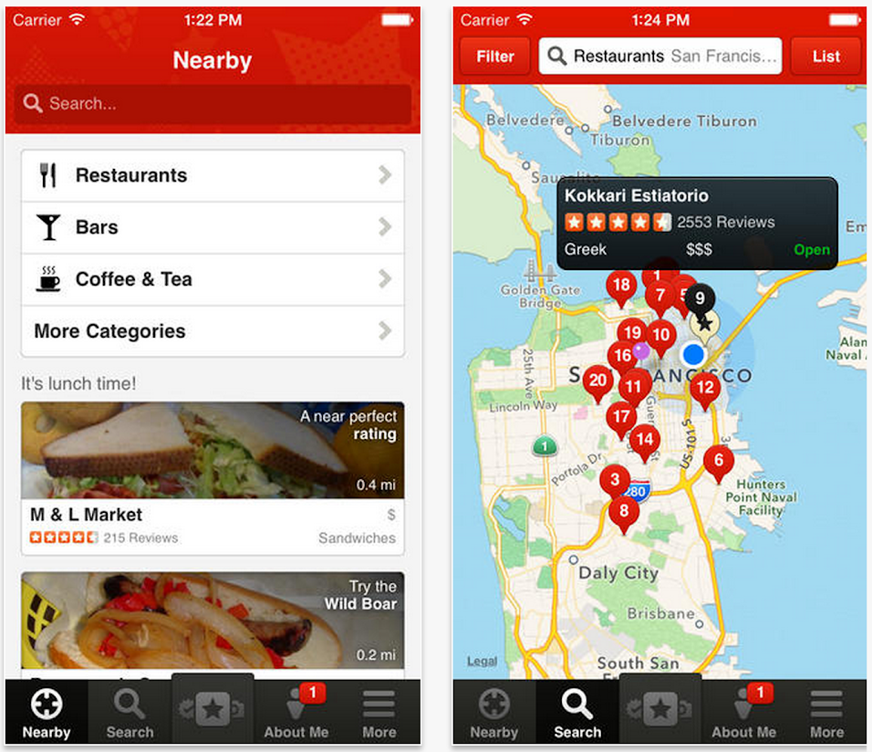 A screenshot of the Yelp app displaying the location and reviews of various restaurants.