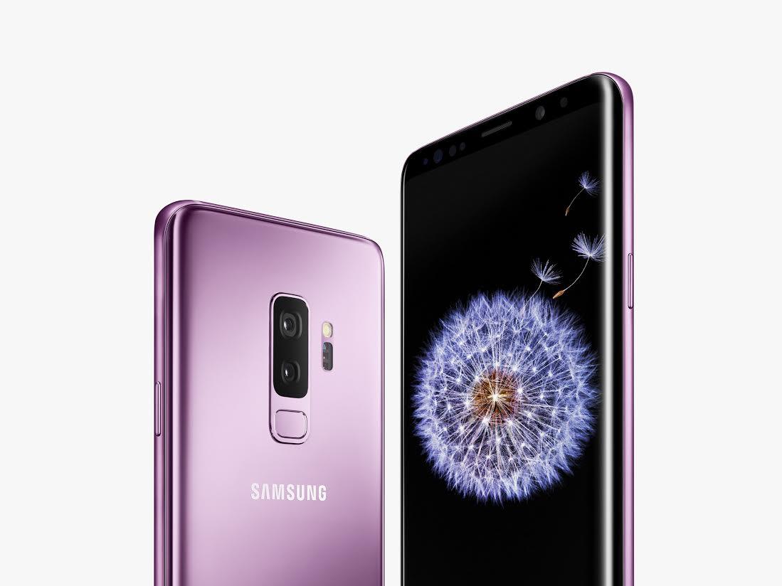 A metallic pink Samsung Smartphone.
