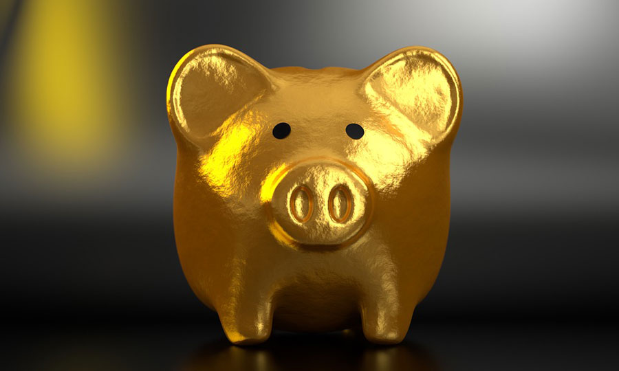 A golden piggie bank.