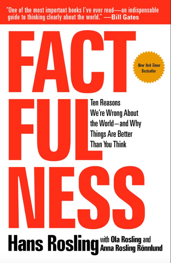 Book cover for Factfulness by Hans Rosling
