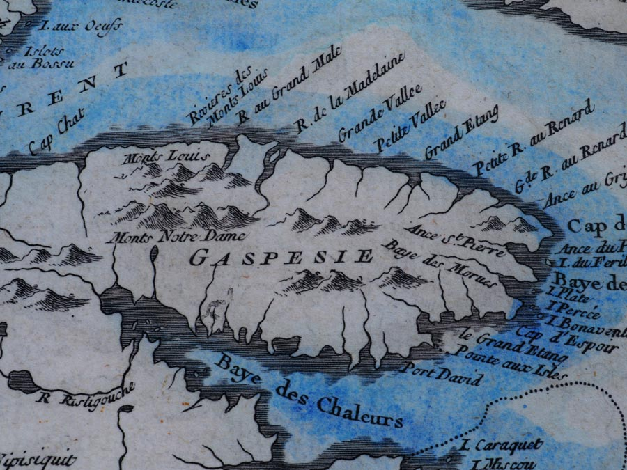 Inside the Musee de la Gaspesie, a map shows the region of the Gaspe Peninsula.