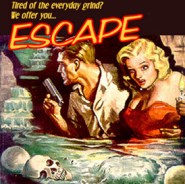 A poster for the classic radio show Escape. A man with a gun and a blonde woman with a red dress are seen wading through water with skulls floating on the surface.