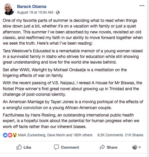 Barack Obama Facebook post.