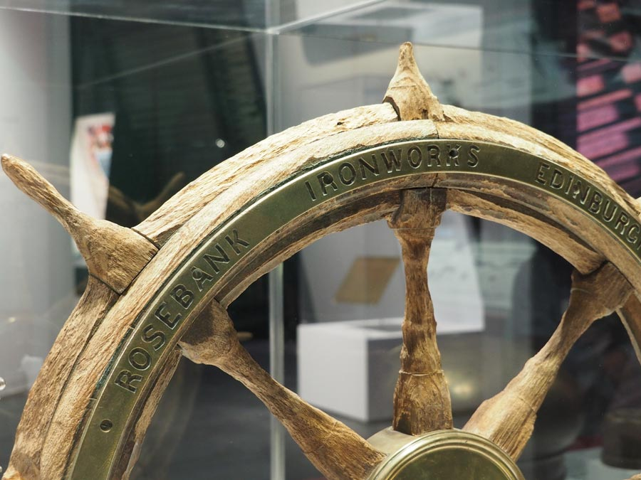 The ship's wheel recovered from the Express of Ireland.