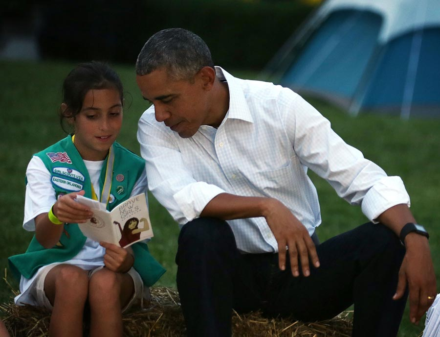 Former U.S. President Barack Obama during a campfire songs session at the first-ever White House Campout June 30, 2015 at South Lawn of the White House. (Photo by Alex Wong/Getty Images)
