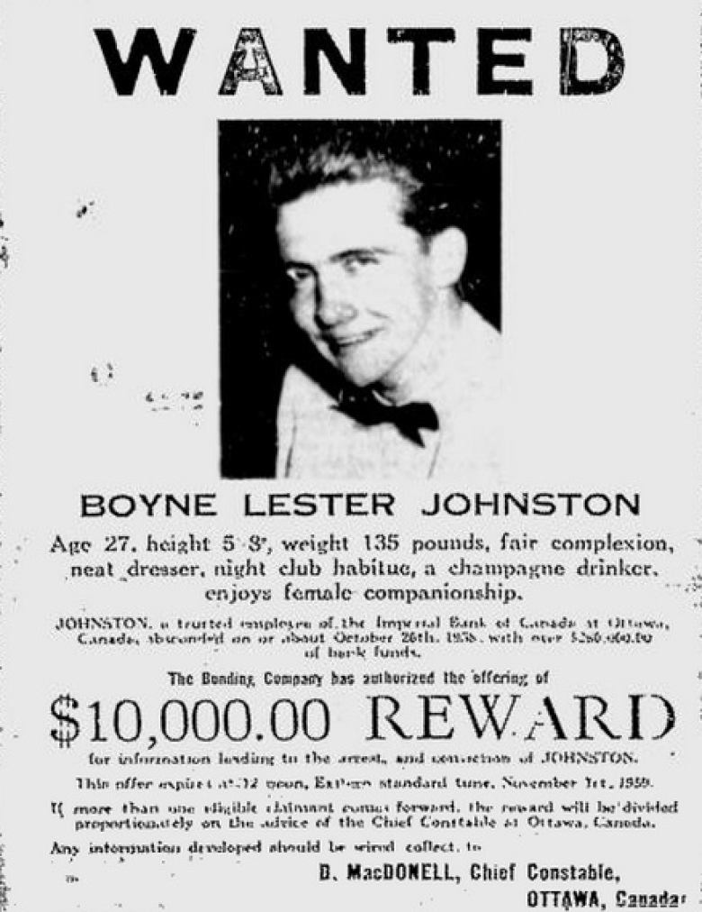 Boyne Johnston's wanted poster.