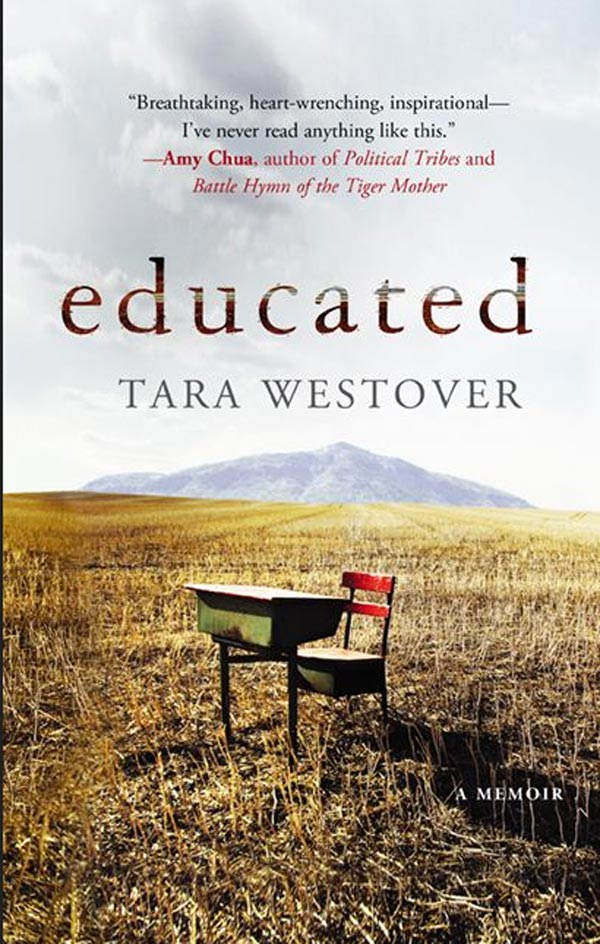 Book cover of Educated by Tara Westover.