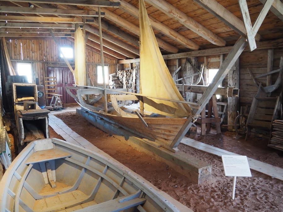 Inside a ship-building shop