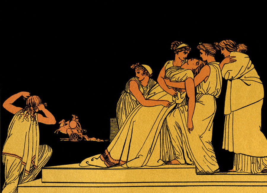 A painting of woman in ancient Rome holding up a woman who has fainted.