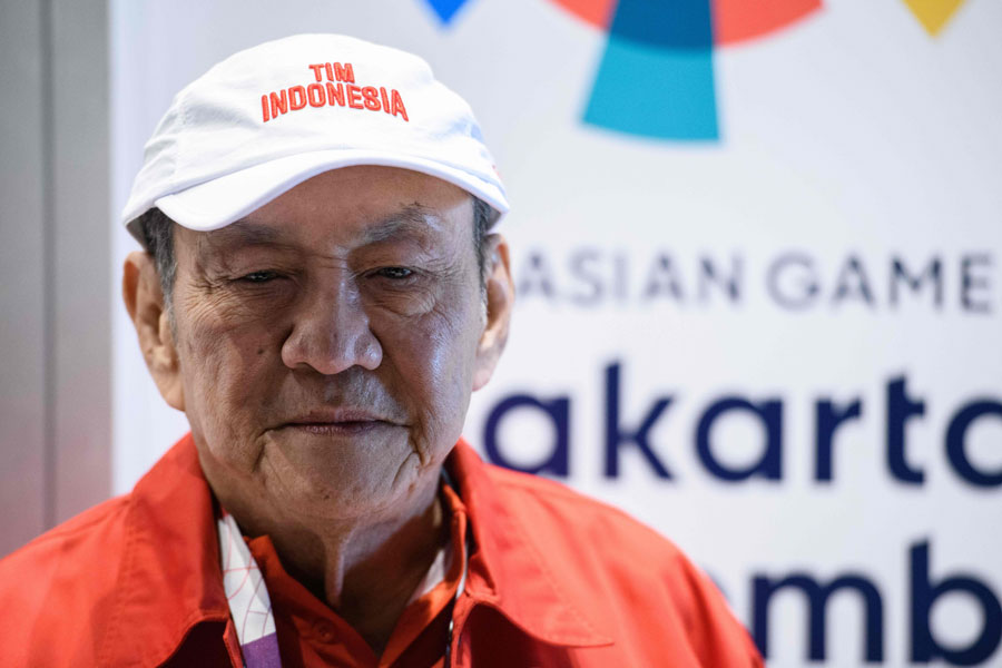 Billionaire tobacco tycoon Michael Bambang Hartono, 78, who is competing in bridge for Indonesia at the 2018 Asian Games, speaks at a press conference at the Jakarta International Expo in Jakarta.