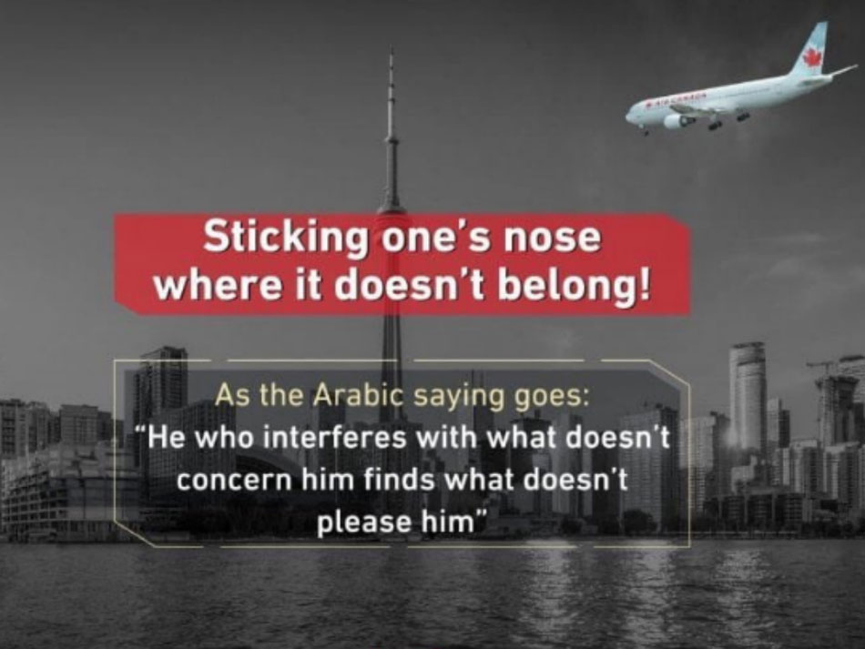 Photo of air canada plane flying toward CN Tower from tweet posted by Saudi youth group.