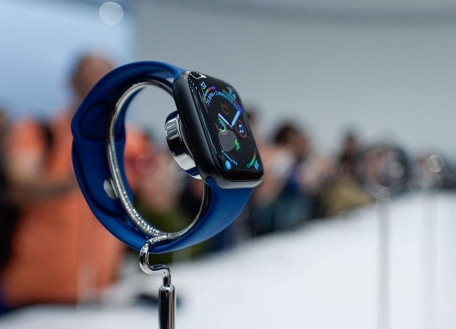 A new apple watch in blue.