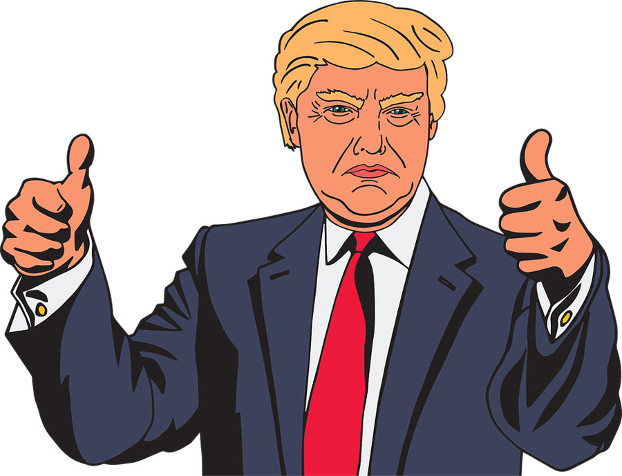 A cartoon rendering of Trump frowning with his thumbs up.