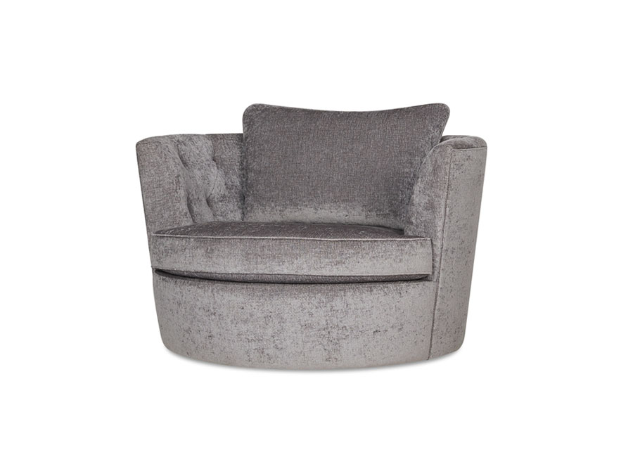 A large round lounge chair in silver grey upholstrey