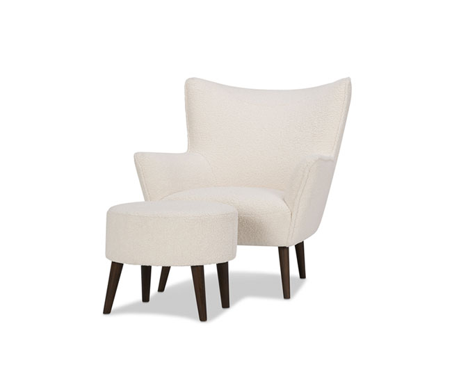 Faux textured wool ivory armchair and matching ottoman