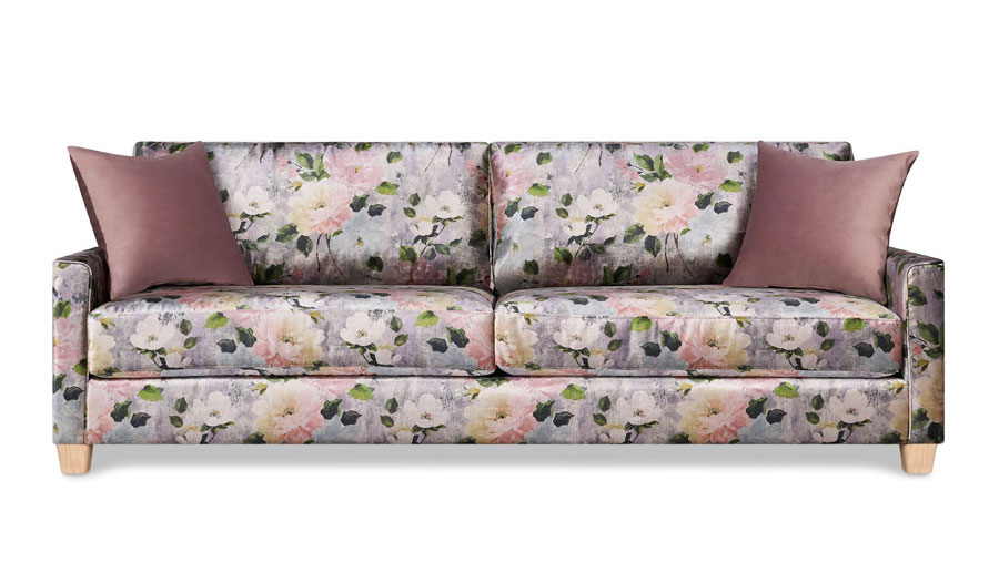Two-seat sofa in grey and pink floral upholstery