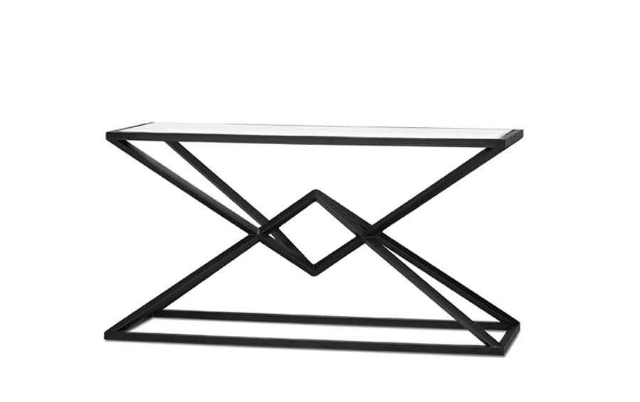 Glass top console table with crisp cross black iron base