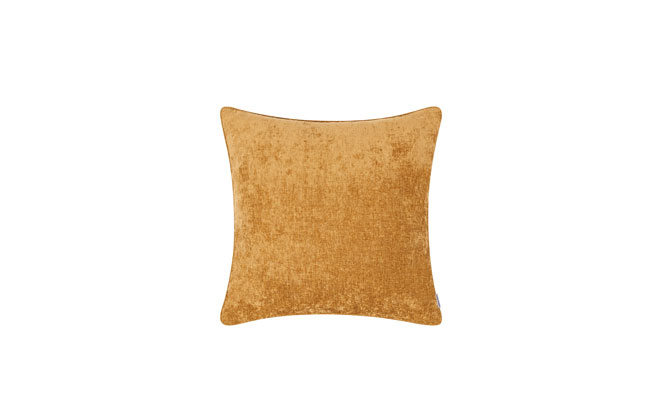 Square toss pillow in mustard yellow