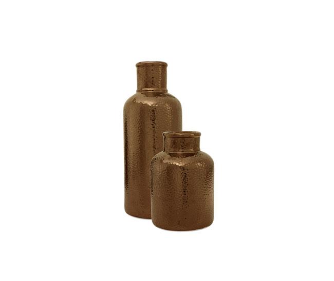 Two bronze tone vases