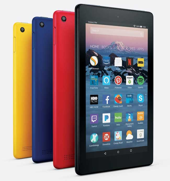 The Amazon Fire tablet in several colours.