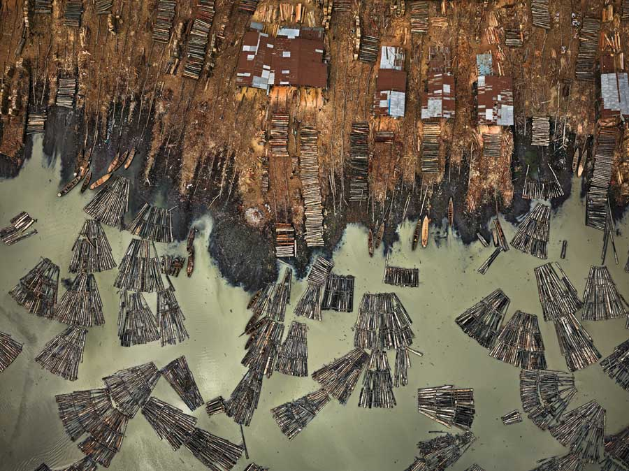 The above view of several bundles of wood in Nigeria.
