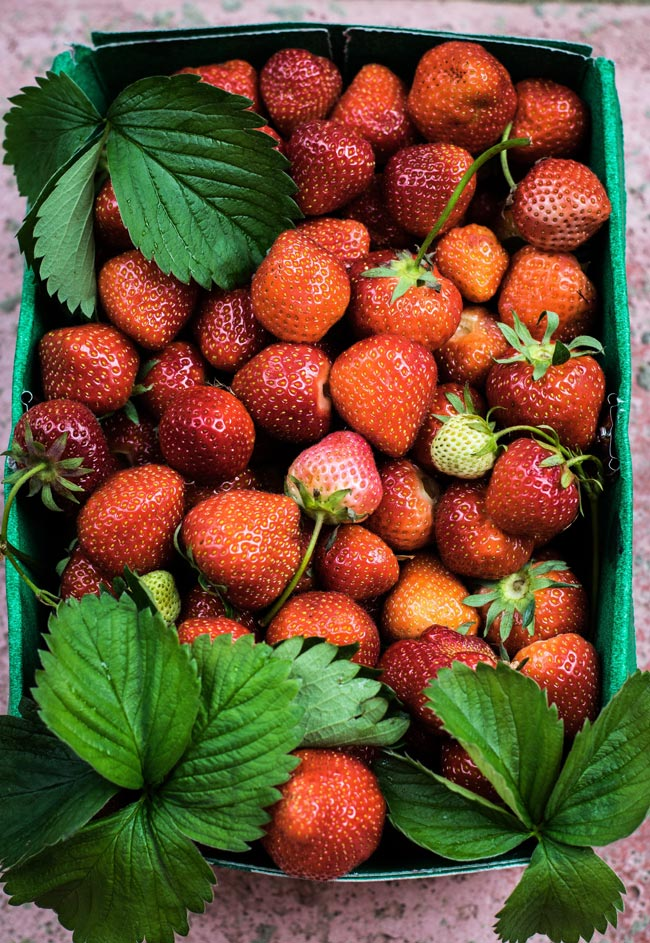 Box of beautiful strawberries.