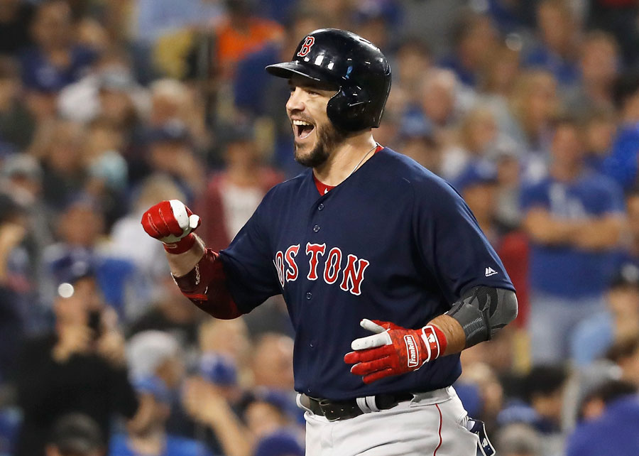 Steve Pearce celebrates home run